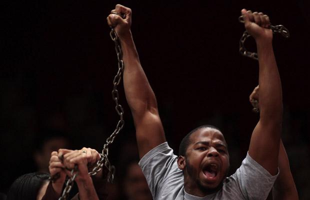 Manifestação na Câmara a favor da votação da PEC do Trabalho Escravo (Foto: Eraldo Peres / Ap Photo)