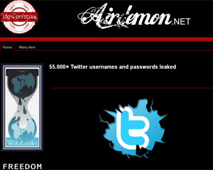Site 'Airdemon' disse que mais de 55 mil contas do Twitter foram violadas (Foto: Reprodução)