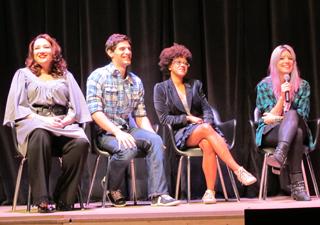 Os atores Cidalia Castro, Bruno Narchi, Corina Sabbas e MariMoon em coletiva de imprensa em São Paulo (Foto: Flávio Seixlack/G1)