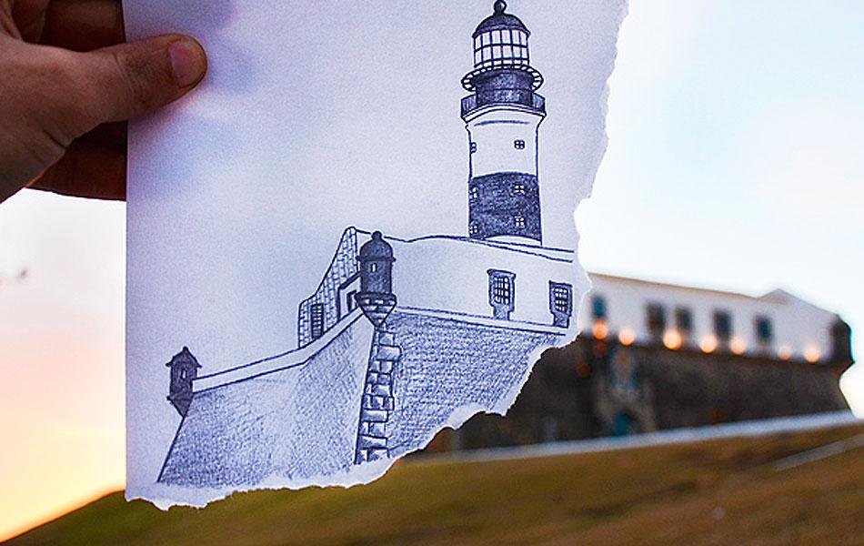 Intervenção com desenho sobre imagem do Farol da Barra