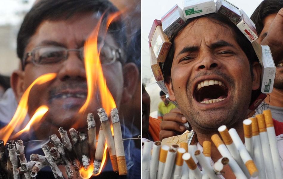 Membros da Associação Antidrogas protestam queimando cigarros na cidade de Amritsar, na Índia. A OMS prevê que cerca de 10 milhões de pessoas morrerão por ano até 2025 por doenças relacionadas ao fumo caso o consumo de tabaco se mantenha no nível atual