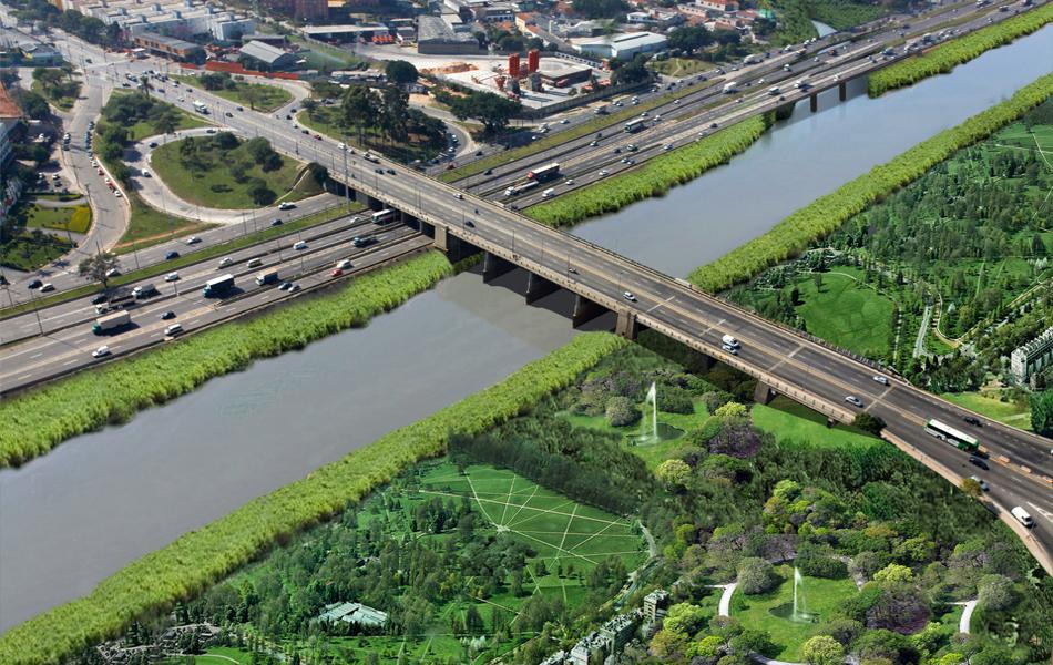 Concepção artística mostra como ficaria a Marginal Tietê com margem transformada em área verde.