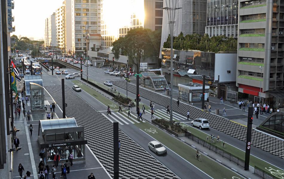 Uma Avenida Paulista com mais espaço para pedestres e bicicletas.