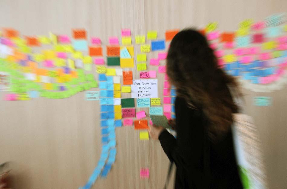 Mural de recados sobre a visão do futuro construído pelo participantes da Rio+20