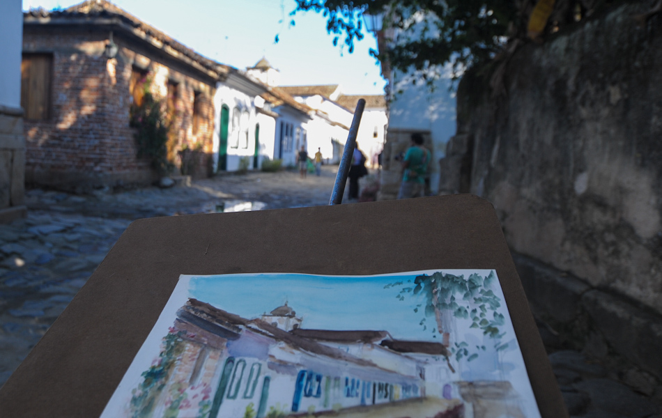 Pintura retrata paisagem do centro histórico da cidade
