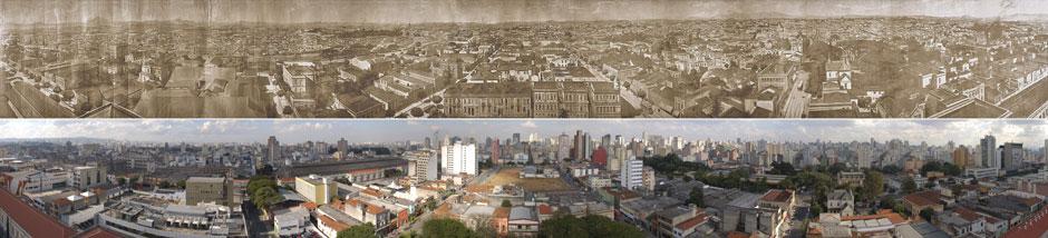 Montagem mostra o 'Panorama nº 2', de Valério Vieira, e a reprodução atual da foto panorâmica, feita pelo G1 no mesmo local de onde Vieira fotografou há mais de 90 anos