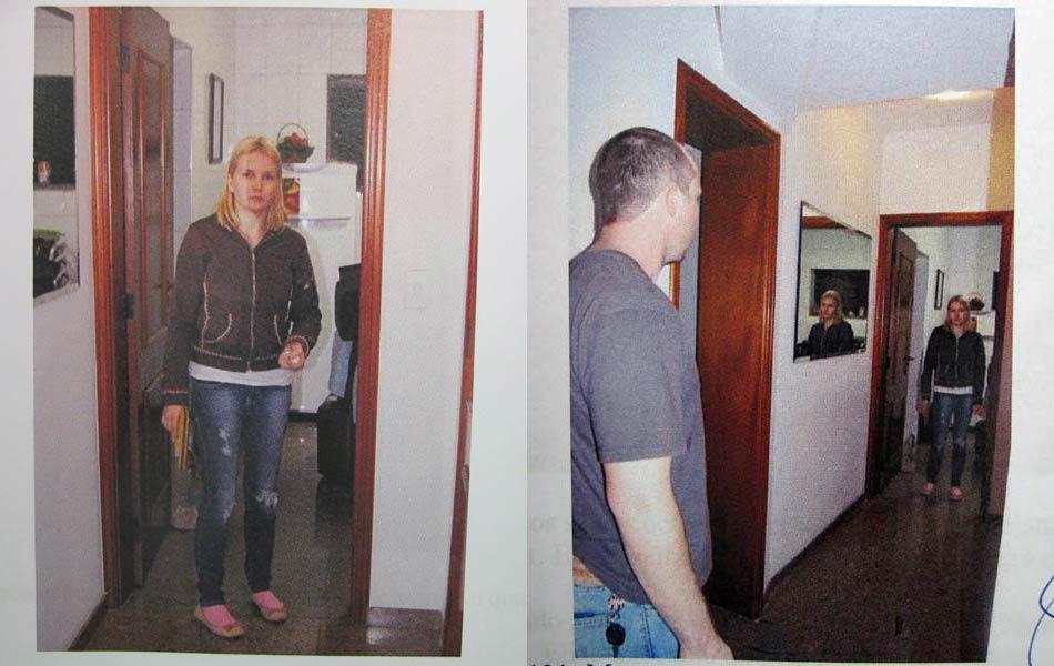 """Laudo da reconstituição: """"Elize se vira e vê Marcos vindo da sala de jantar; Marcos vem da sala e vê Elize parada na porta da copa com a arma na mão;"""", conforme texto do laudo."""