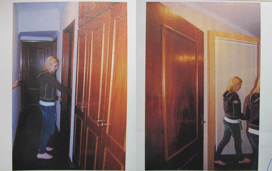 """Laudo: """" Elize vai até o escritório. Desloca o espelho na parede e entra na sala de armas"""", segundo relatou aos peritos."""