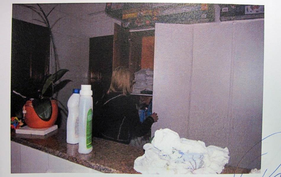 """Laudo: """"Elize vai até o armário na lavanderia, pega panos e produto de limpeza, Veja"""", conforme descrição do laudo."""