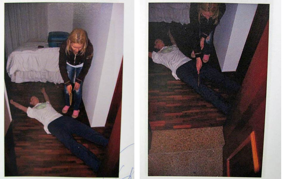 """Laudo: """"No dia seguinte, Elize retorna ao dormitório de hóspedes com intuito de segmentar o corpo de Marcos, após a chegada da babá. Elize começa a seccionar Marcos pelos joelhos"""", conforme relatado aos peritos."""