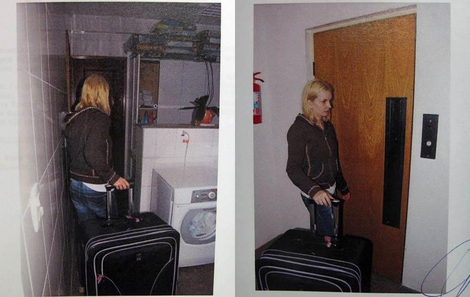 """Laudo:  """"Elize leva as malas pelo corredor, passa pela lavanderia e vai para o elevador de serviço. Elize aguardando o elevador de serviço"""", conforme relato."""