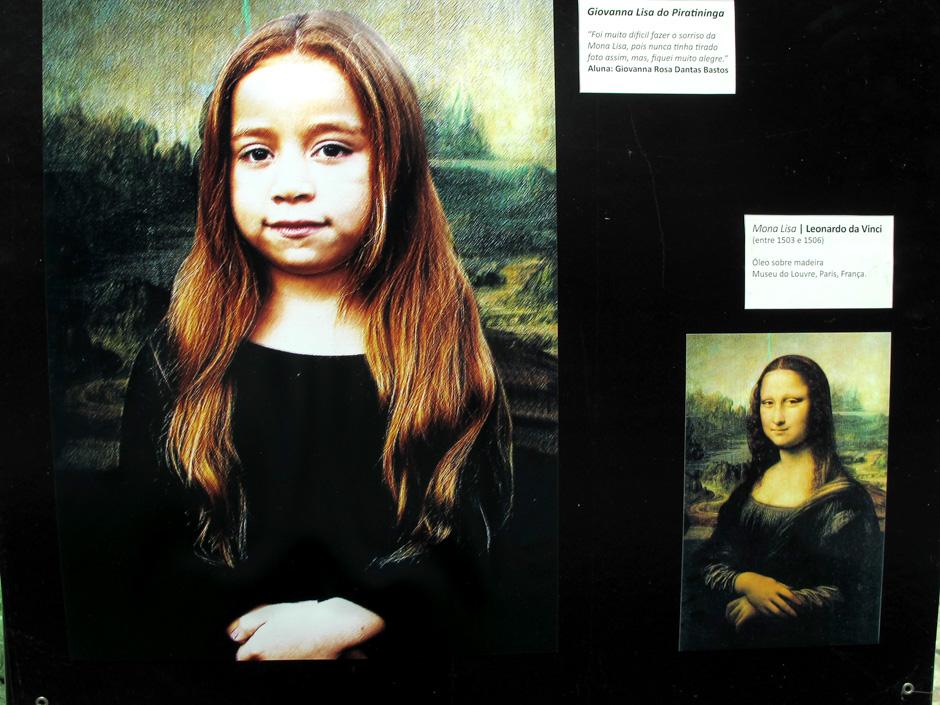 """Giovanna teve como tarefa interpretar o enigmático sorriso de """"Mona Lisa"""", de Leonardo da Vinci"""