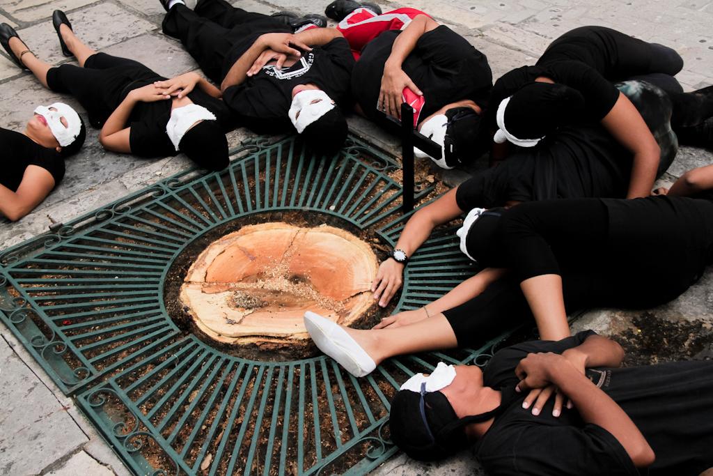 Grupo de teatro protestou contra corte de árvore no Centro de Manaus