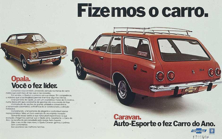Anúncio da linha Opala e Caravan da Chevrolet no Brasil (Foto:Divulgação Chevrolet)