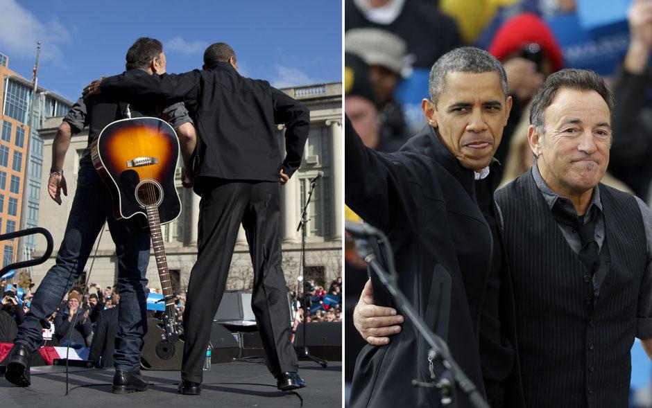 5 de novembro - Obama recebe o apoio do cantor Bruce Springsteen durante show em evento de campanha perto do prédio do Capitólio Estadual em Madison, Wisconsin