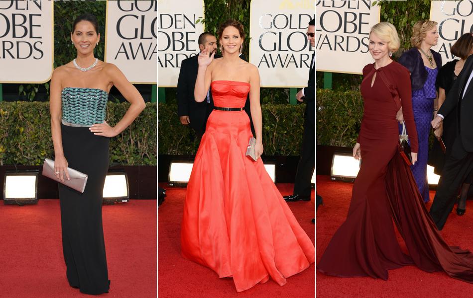 Olivian Munn, Jennifer Lawrence e Naomi Watts passa pelo tapete vermelho do Globo de Ouro 2013
