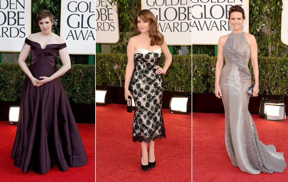 Lena Dunham, indicada a melhor atriz em série de comédia ou musical; Tina Fey, apresentadora da noite ao lado de Amy Poehler; e a atriz Carla Gugino