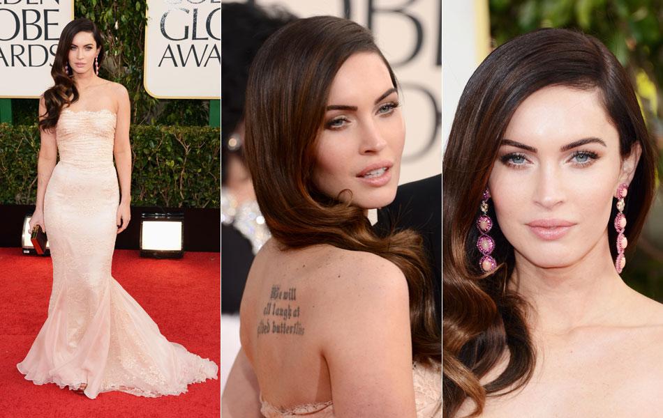 A atriz Megan Fox passa pelo tapete vermelho do Globo de Ouro 2013, neste domingo (13), em Bervely Hills; o prêmio é entregue pela associação de imprensa estrangeira em Hollywood