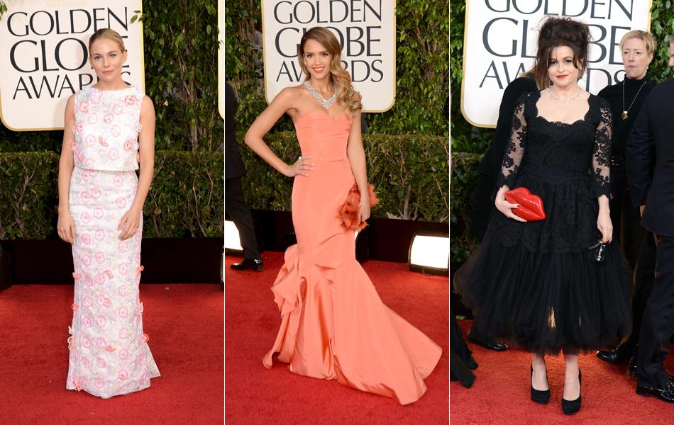 Sienna Miller, Jessica Alba e Helena Bonhan Carter no tapete vermelho do Globo de Ouro 2013