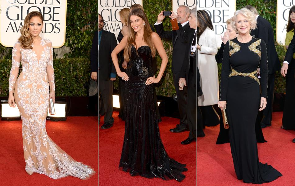 Jennifer Lopez, Sofia Vergara e Helen Mirren no Globo de Ouro 2013 neste domingo (13)