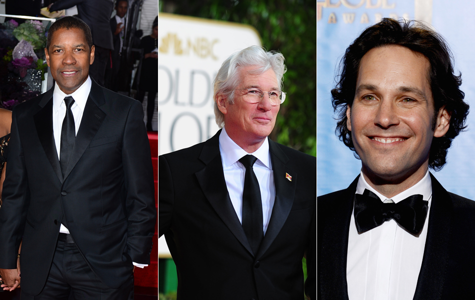 Os atores Denzel Washington, Richard Gere e Paul Rudd no Globo de Ouro 2013