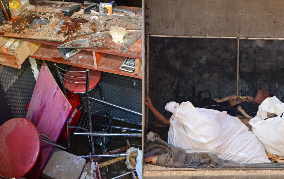 27 de janeiro -  Imagem do interior da boate Kiss; à direita; corpos de vítimas do incêndio