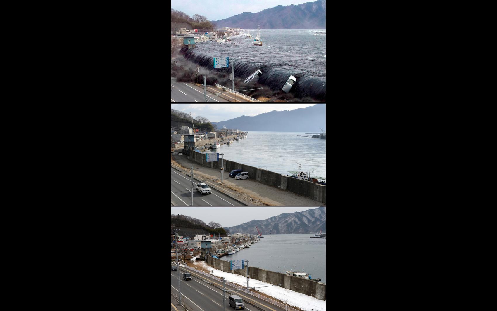 Foto mostra onda de tsunami invadindo a cidade de Miyako em 2011, abaixo o mesmo local em 16 de janeiro 2012 e 18 de fevereiro de 2013.