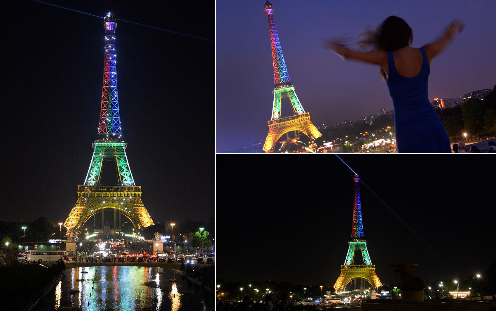 A Torre Eiffel, em Paris, é iluminada com as cores da bandeira da África do Sul, em homenagem ao Dia de Mandela, data em que o ex-líder sul-africano completa 95 anos.