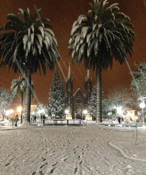 Neve embelezou paisagem em Vacaria