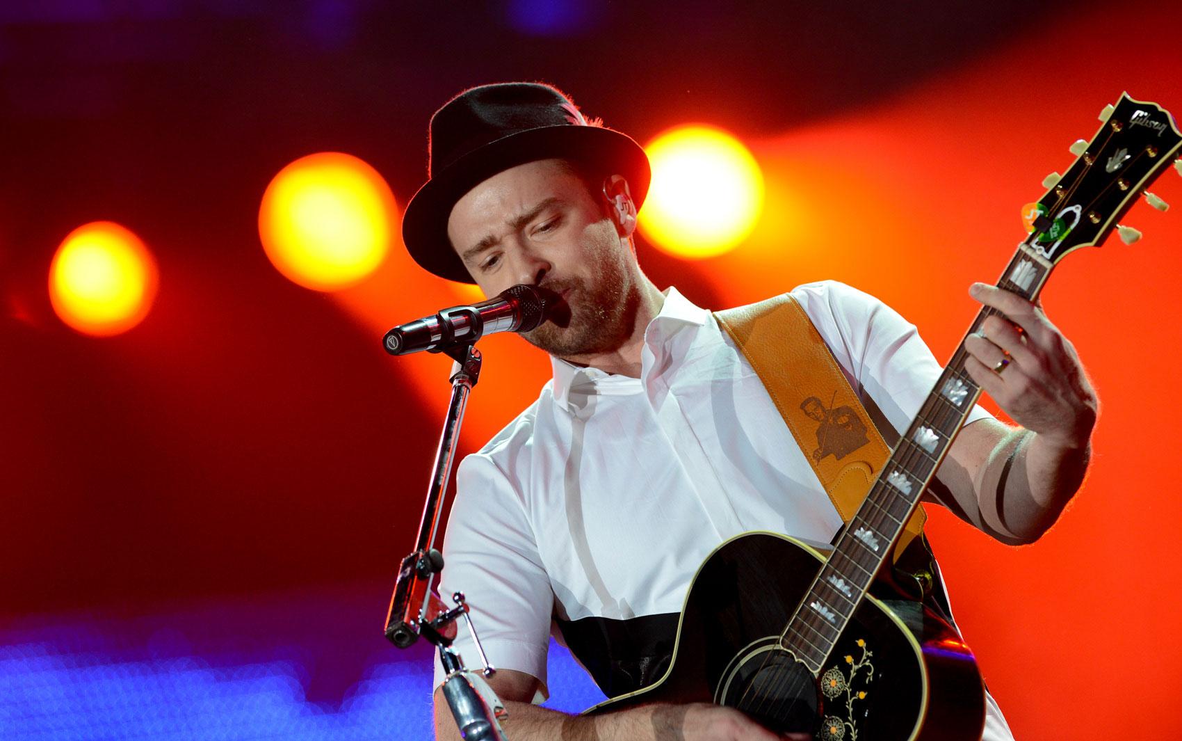 Justin Timberlake durante show no Palco Mundo neste domingo (15)