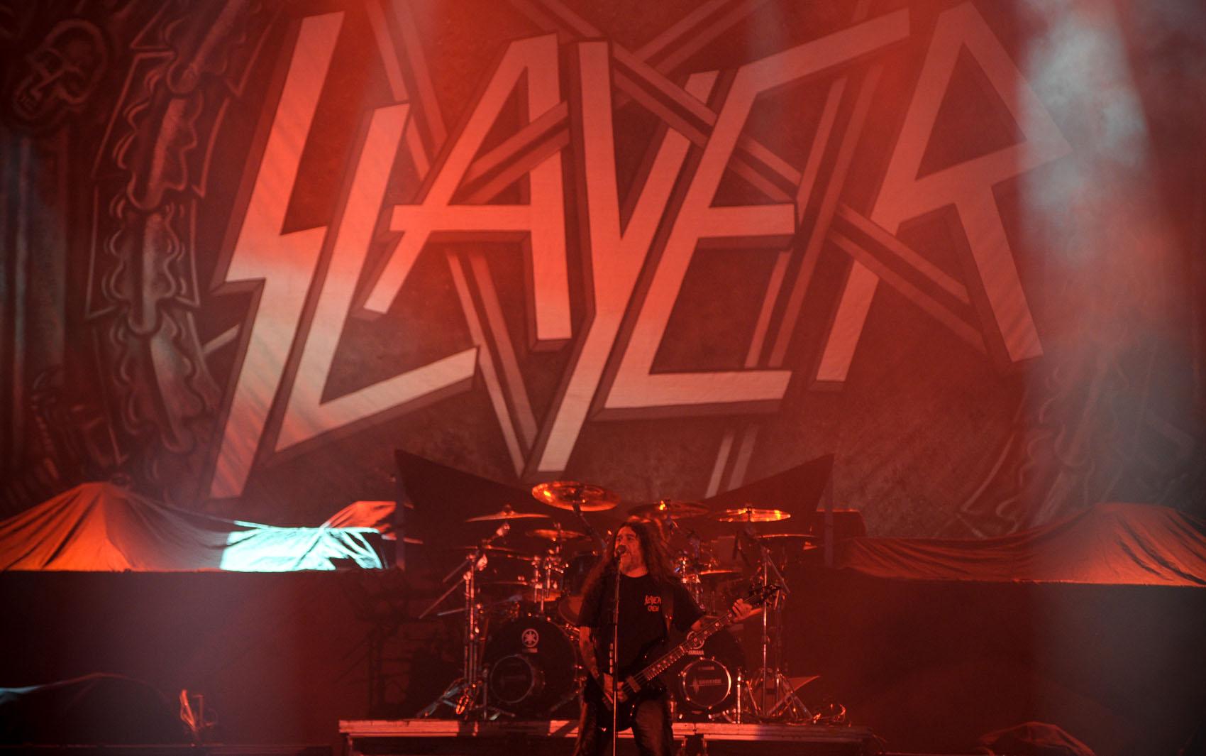 O Slayer foi a segunda banda a se apresentar no palco Mundo no último dia do Rock in Rio