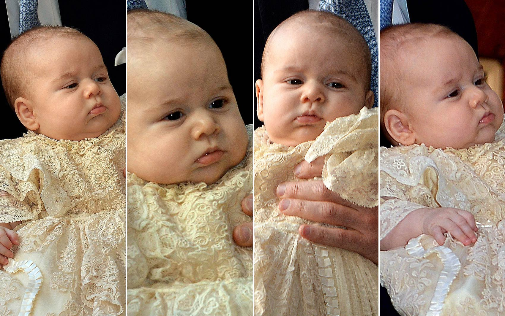 Montagem mostra caras e bocas do príncipe George na chegada para a cerimônia de batismo, no Palácio de St. James