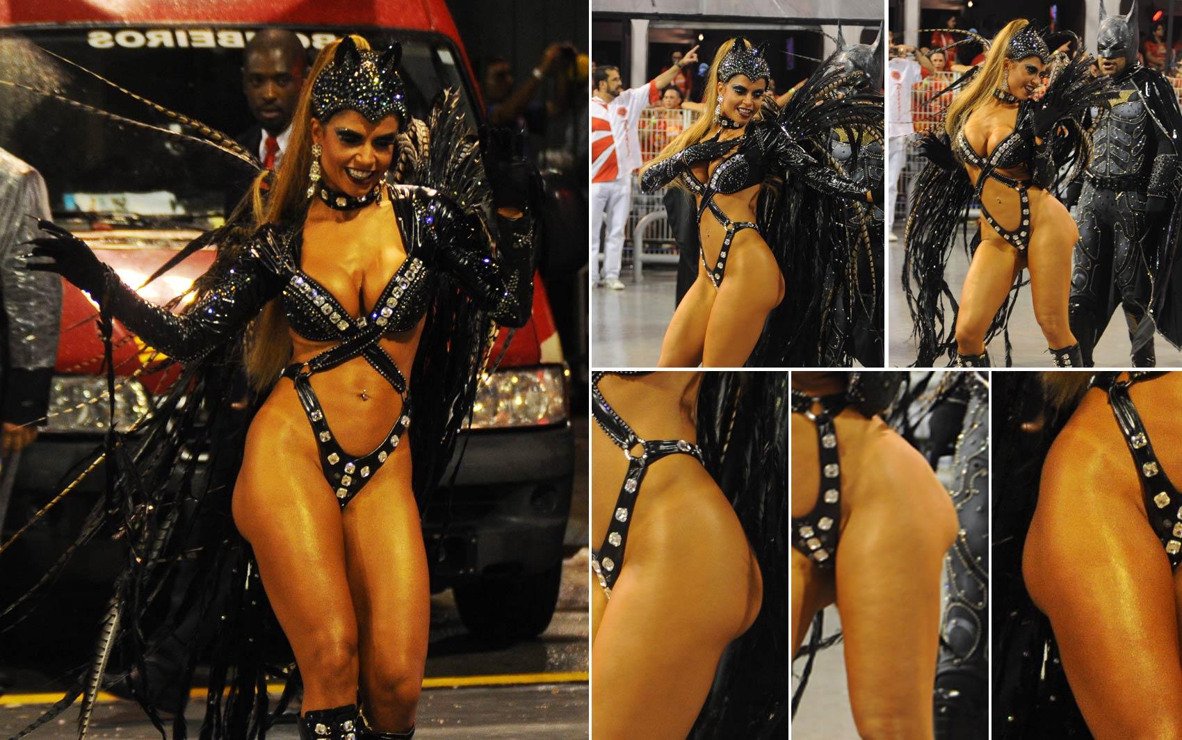 Bumbum da ex-BBB Cacau Colucci parece sambar mais que a dona durante desfile da Dragões da Real