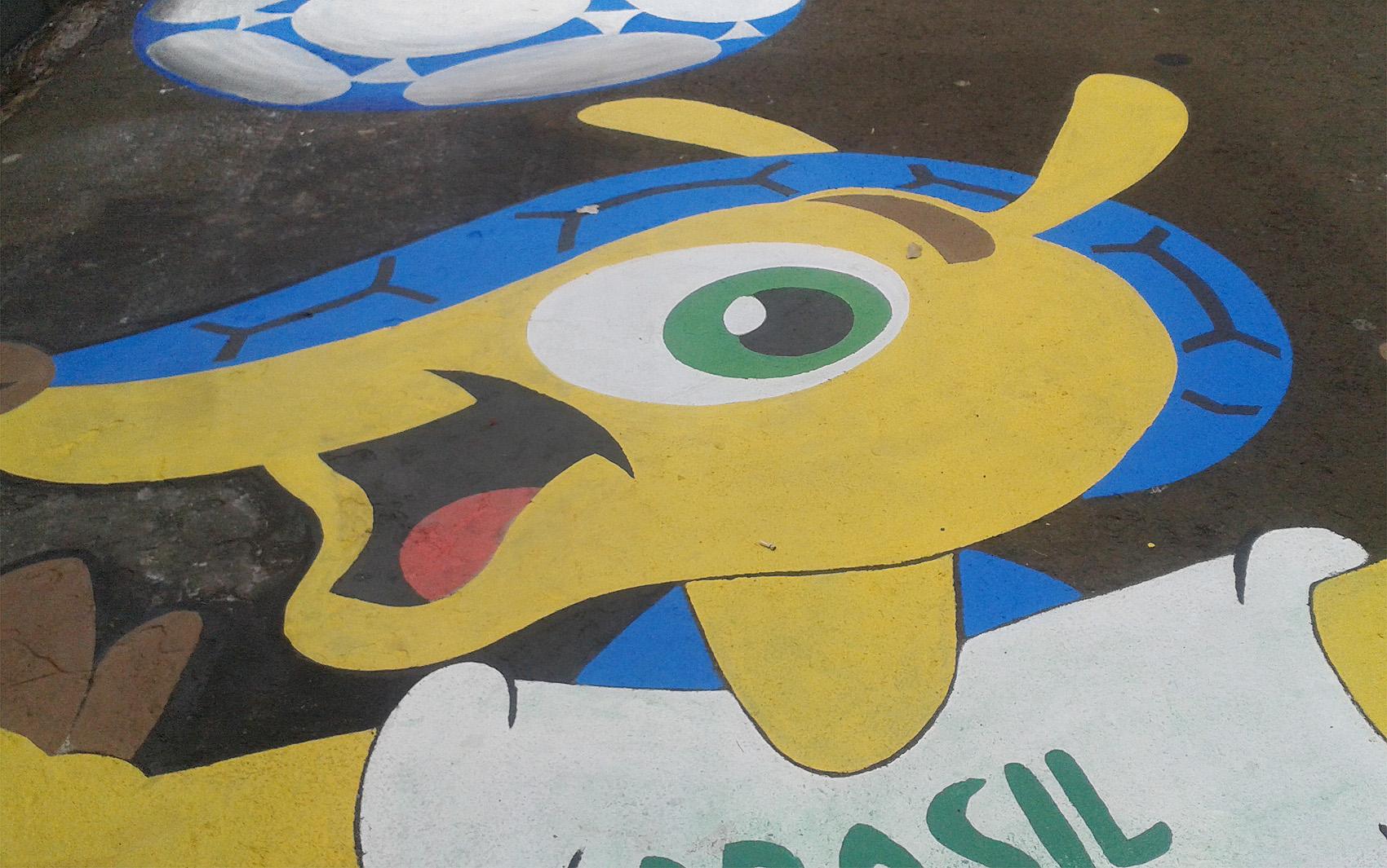 O mascote da Copa do Mundo - Fuleco - foi o homenageado por Carlos, morador do Jardim Paulista.