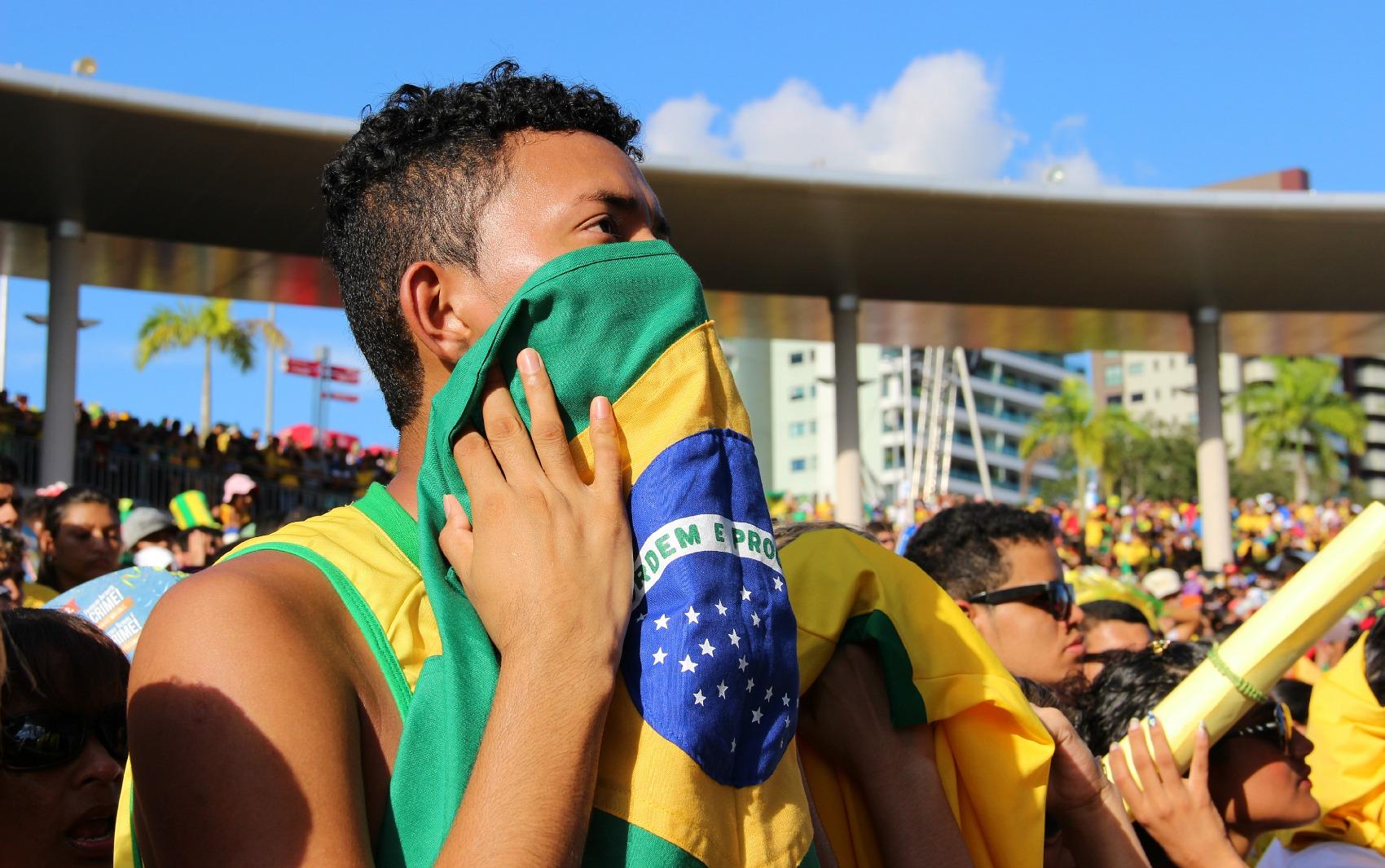 Torcida acompanhava aflita o jogo do Brasil