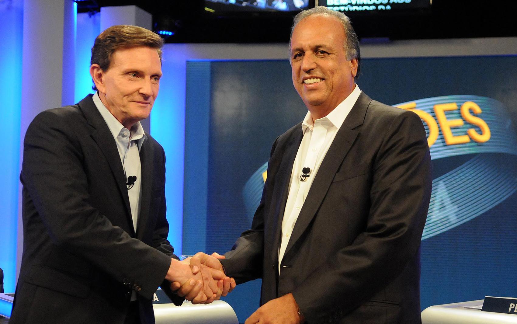 Crivella e Pezão, candidatos ao governo do estado, nos estúdios da TV Globo