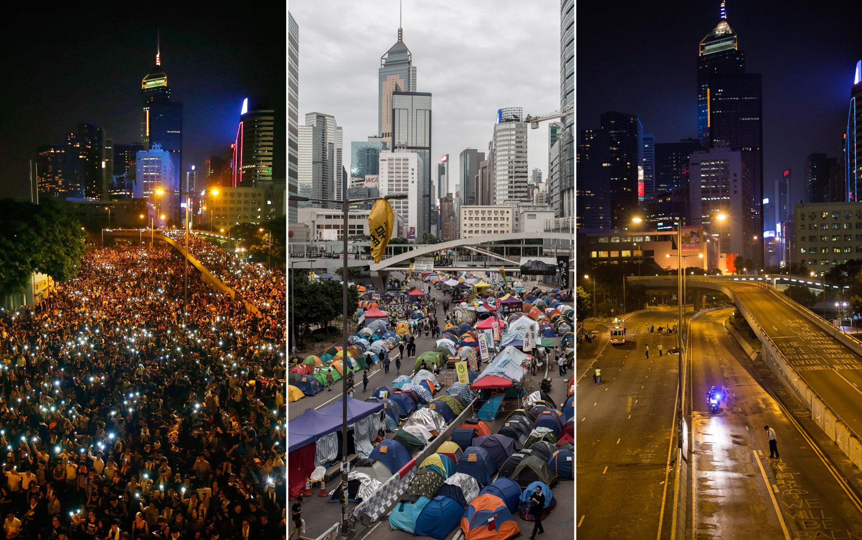 Combinação de fotos mostra avenida próxima à sede do governo de Hong Kong tomada por manifestantes pró-democracia no início do movimento em 29/09, ocupada em 01/12 e vazia após ação policial para retirada dos manifestantes em 11 de dezembro