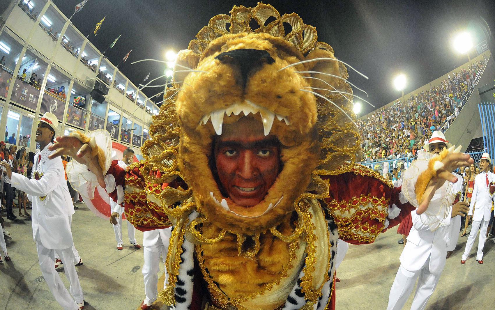 Estácio de Sá - Além de carro e de fantasia da rainha de bateria, o leão também foi lembrado em outras alas da escola