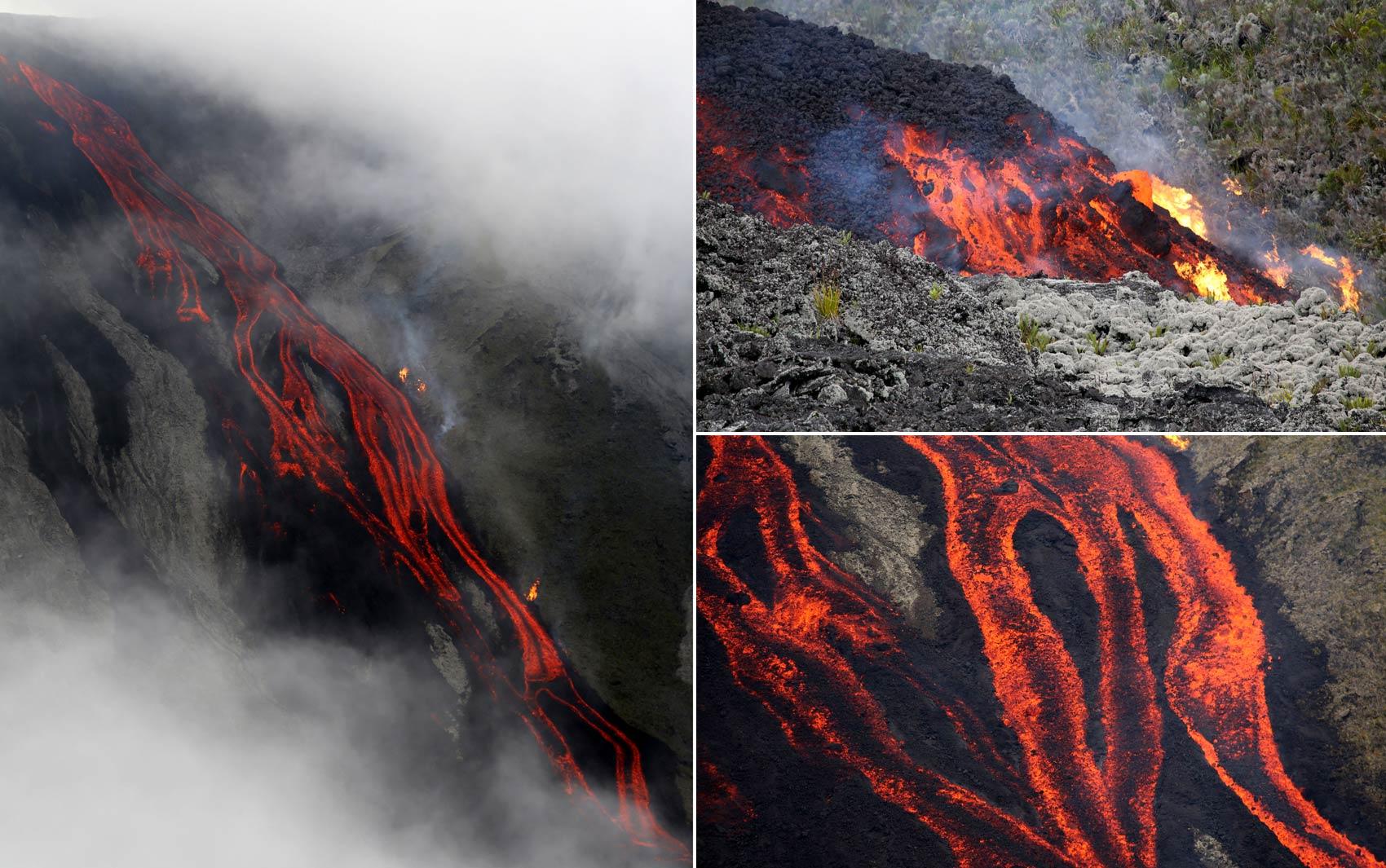 Erupção cria 'rios' de lava e queima a vegetação na encosta do vulcão Fournaise, na ilha francesa de La Reunion, no Oceano Índico. A erupção começou por volta de 10h da manhã desta sexta-feira (31), segundo informou a prefeitura local em um comunicado