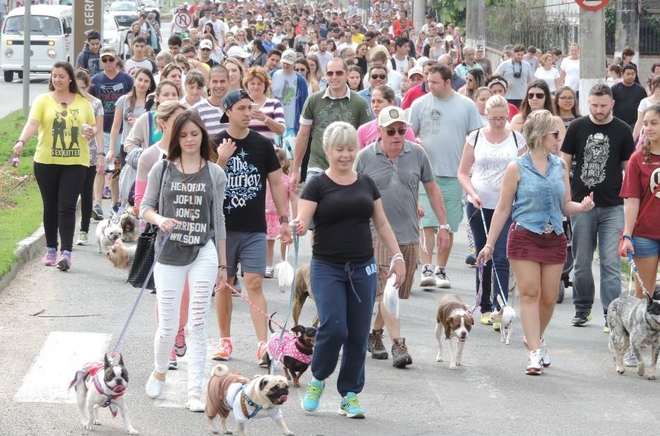 Donos e cães percorreram três quilômetros
