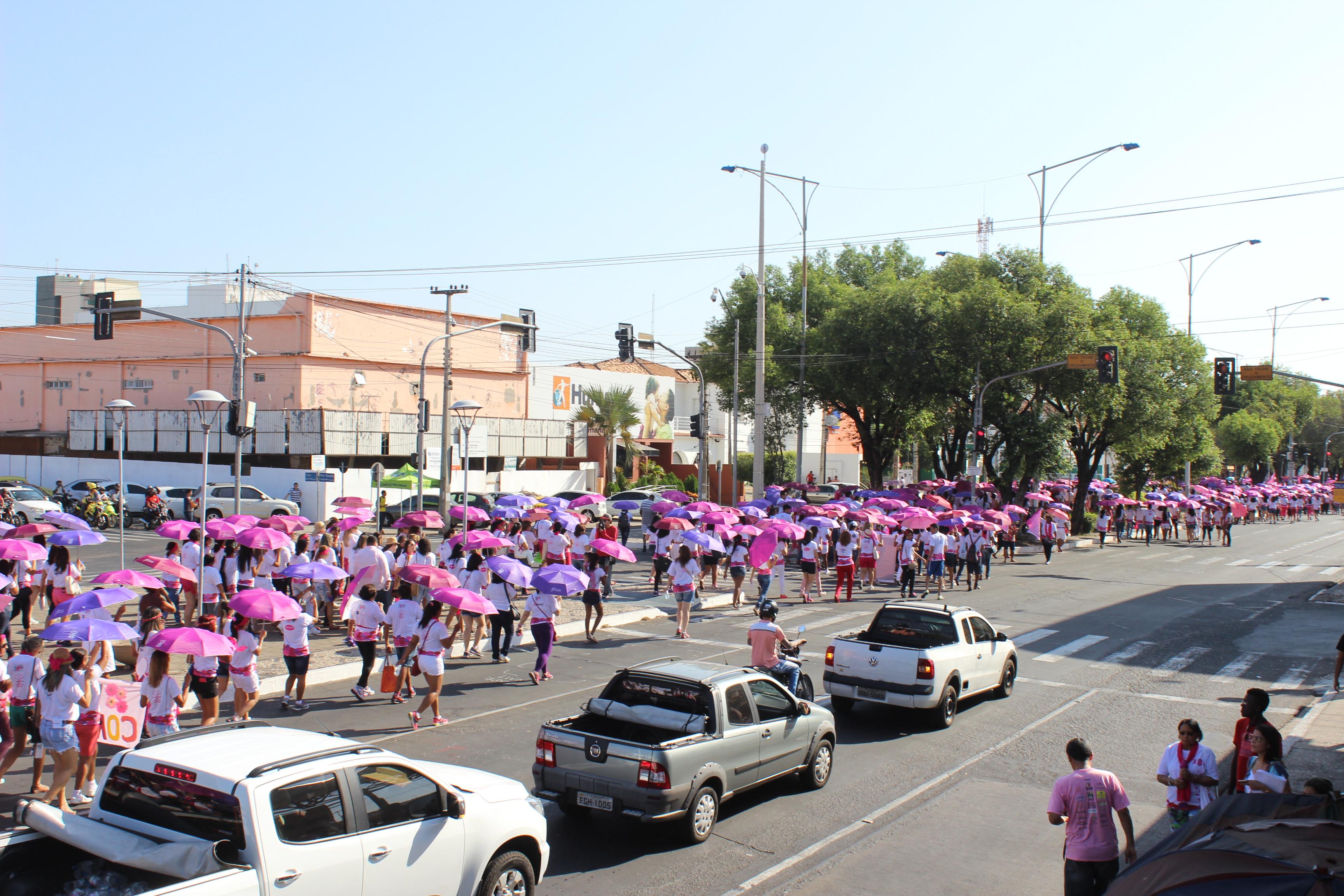 Multidão percorreu a avenida Frei Serafim durante a caminhada
