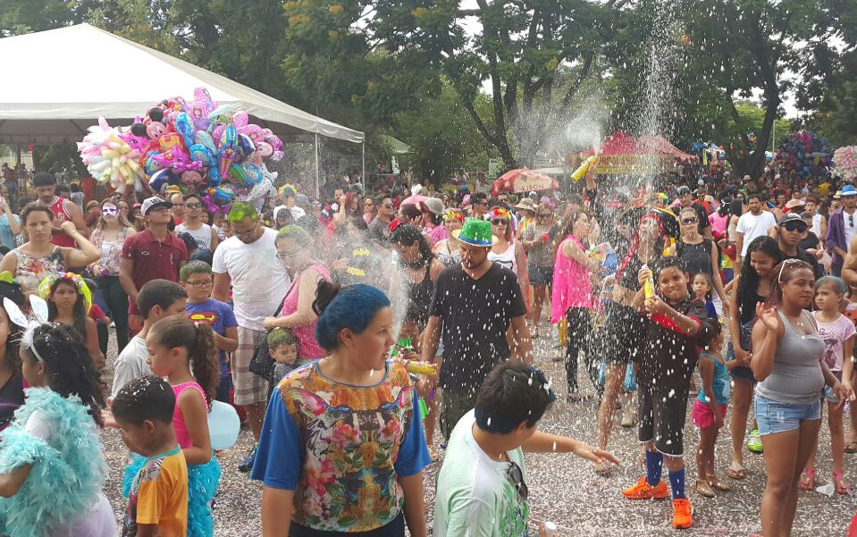 Crianças e adultos aproveitam o desfile do Baratinha, grupo carnavalesco de Brasília, no Parque da Cidade