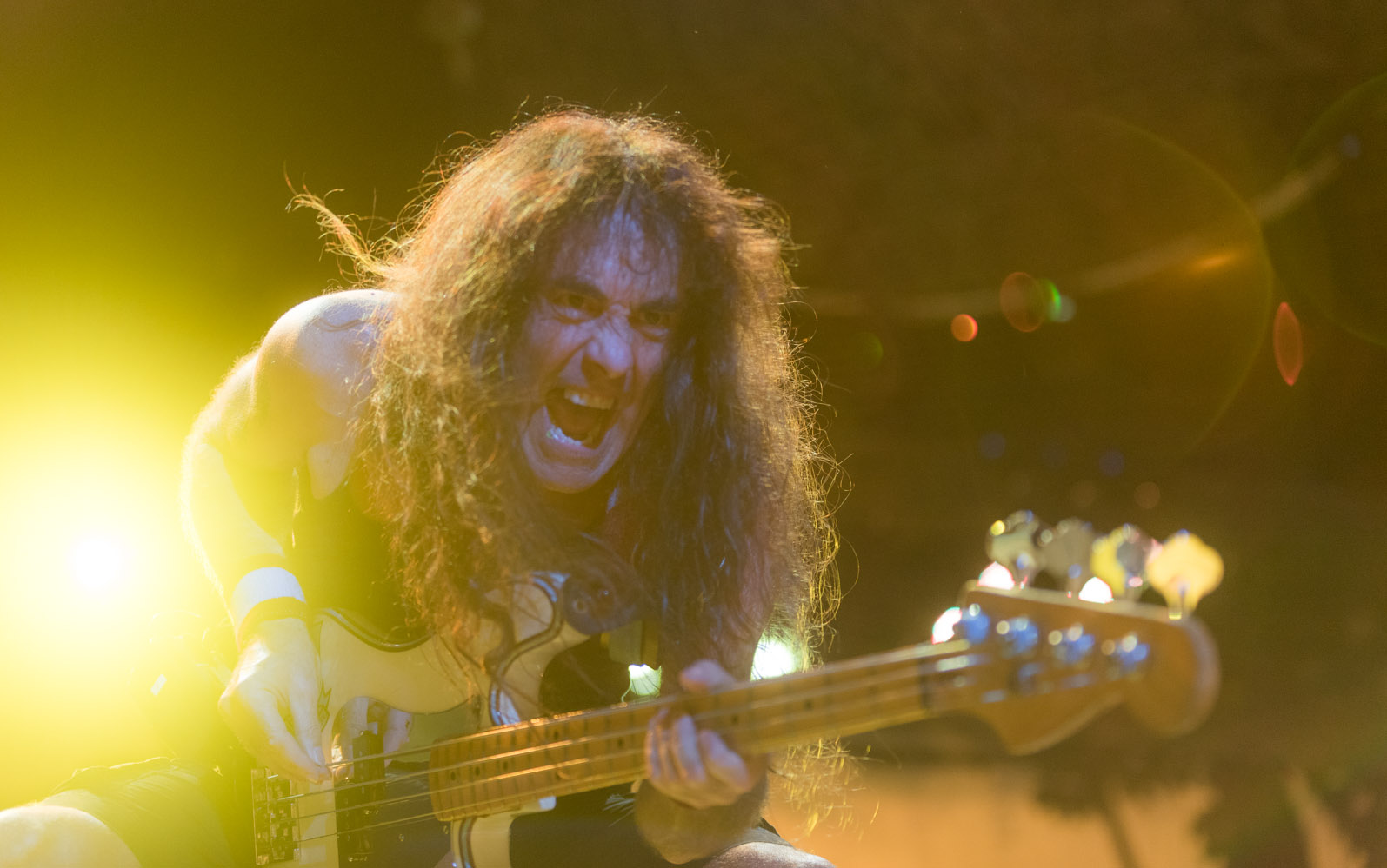 Steve Harris, baixista da banda inglesa Iron Maiden, durante show no ginásio Nilson Nelson, em Brasília, na noite de terça (22)