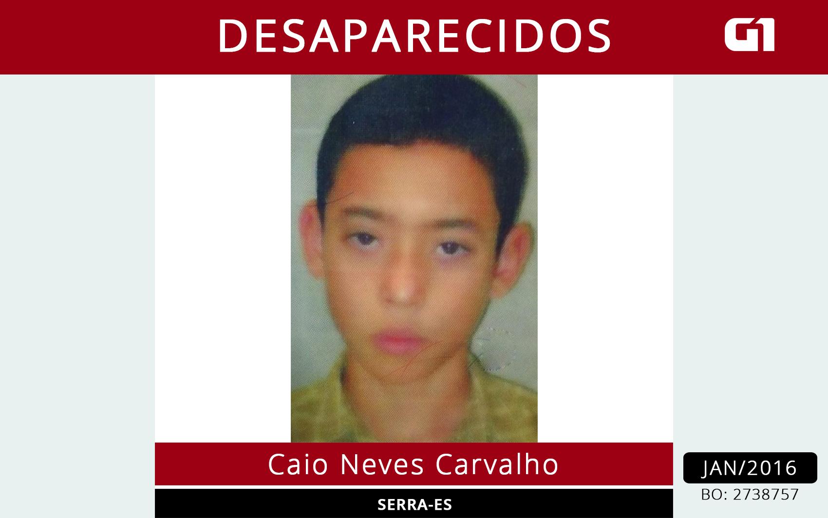 Caio Neves Carvalho está desaparecido, Serra, Espírito Santo