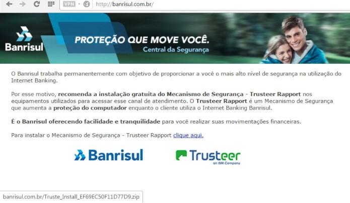 Página redirecionada no endereço 'banrisul.com.br'. (Foto: Reprodução/@assolini)