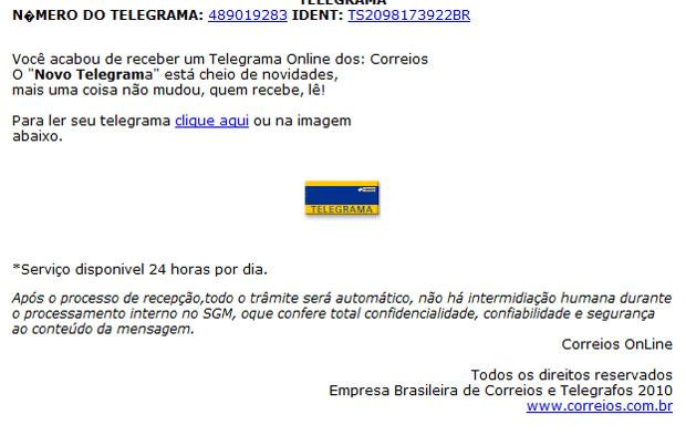 Mensagem diz que usuário recebeu um telegrama dos correios.