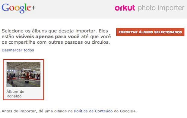 Exportar fotos do Orkut