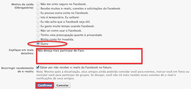 Formulário para confirmação do procedimento de desativar a conta no Facebook (Foto: Reprodução)