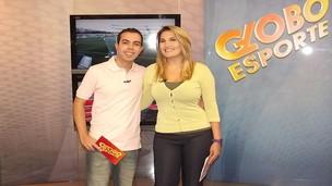 Antero Neto e Mariana Sasso, apresentadores do Globo Esporte no Ceará (Foto: Alyne Cardoso)