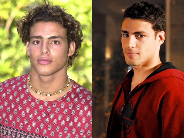 Sem os cachinhos: Cauã Reymond estreou na Rede Globo como o Mau Mau, em 2002. Em 2008, viveu Halley, um dos principais personagens de A Favorita